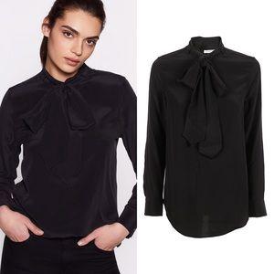 EQUIPMENT Carleen Black Tie Neck Silk Blouse Shirt